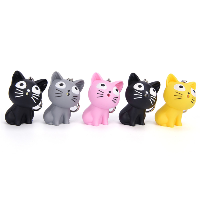 Cute Cheese Cat Keychain With Meow Sound,kawaii LED Keyring Bag Pandent Valentines Day Gifts