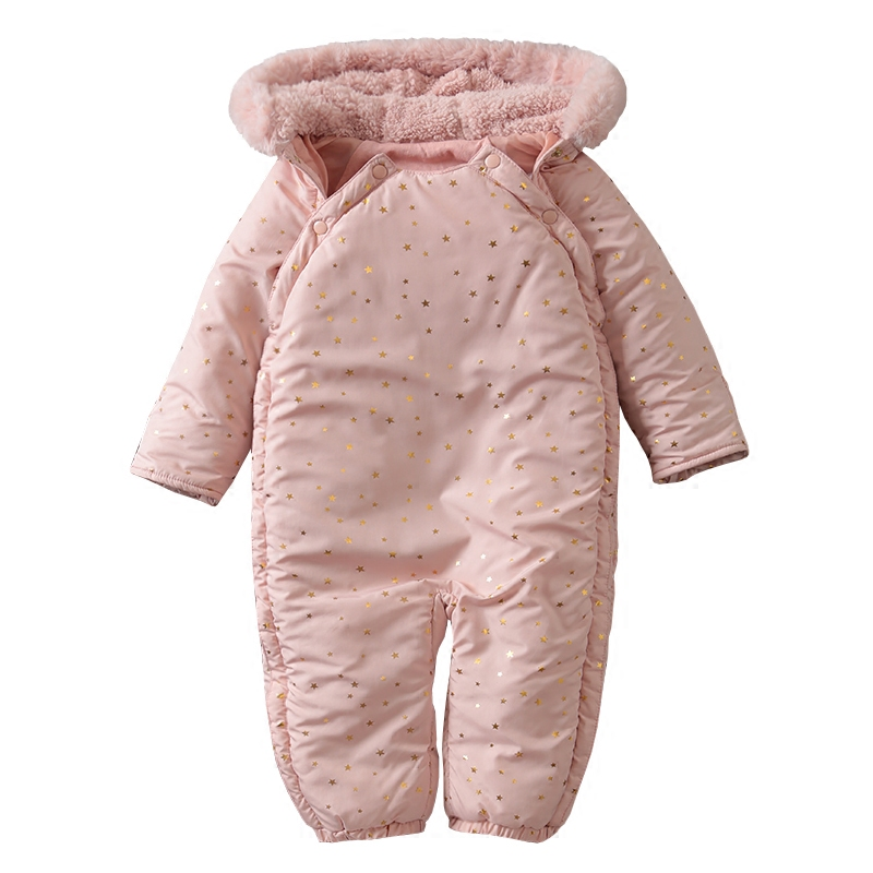 Winter baby warm pink romper fashion hooded girl baby thick comfortable outerwear romperWinter baby warm pink romper fashion hooded girl baby thick comfortable outerwear romper