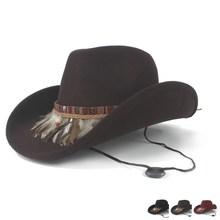 Женская и Мужская шерстяная ковбойская шляпа в западном стиле с вывернутыми полями, черная шляпа для джентльменов, Sombrero Hombre, джазовая Кепка, ветровая веревка