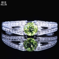 925 Sterling Silver Engagement Classic Genuine Peridot Ring Fine JewelryArt Deco Vintage Wedding Gemstone Natural Diamond Ring