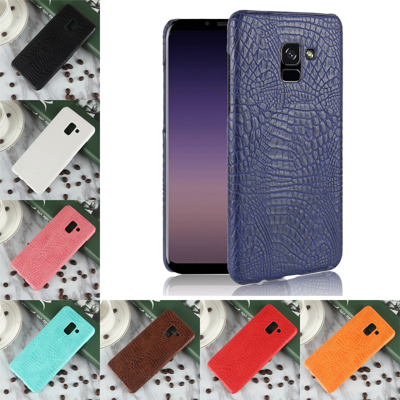For Samsung Galaxy A5 2018 Case Luxury Crocodile PU Leather Hard PC Back Cover Phone Case For Samsung Galaxy A5 2018 Cover Case in Fitted Cases from Cellphones Telecommunications