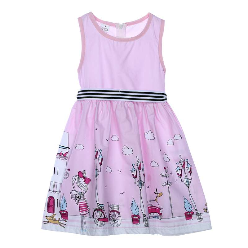 Children Dress Summer Toddler Baby Girls White Sleeveless Print Dress Kids Party Pageant ...