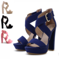 Brand New velvet Comfortable Sexy Cross strap Ultra thick high  heel Platform Women sandals Hot buckle women party pumps