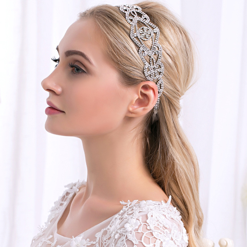 Wedding Hairstyle With Headband: Crystal Bridal Headband Crystal Wedding Wide Hair Band