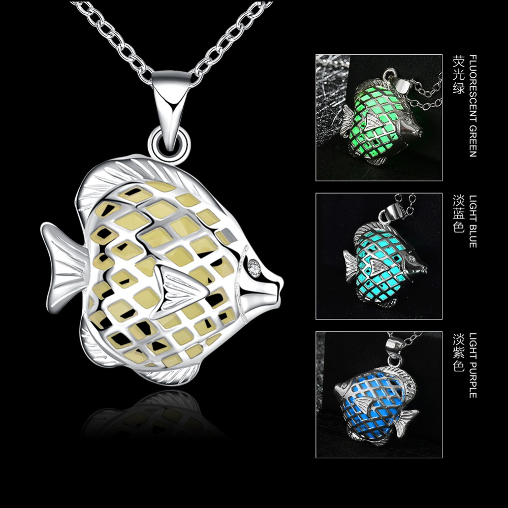 3 Color New Fashion Vintage Hollow Glowing Stone Pendant Luminous Tropical Fish Pendants Necklace For Women Free Shipping