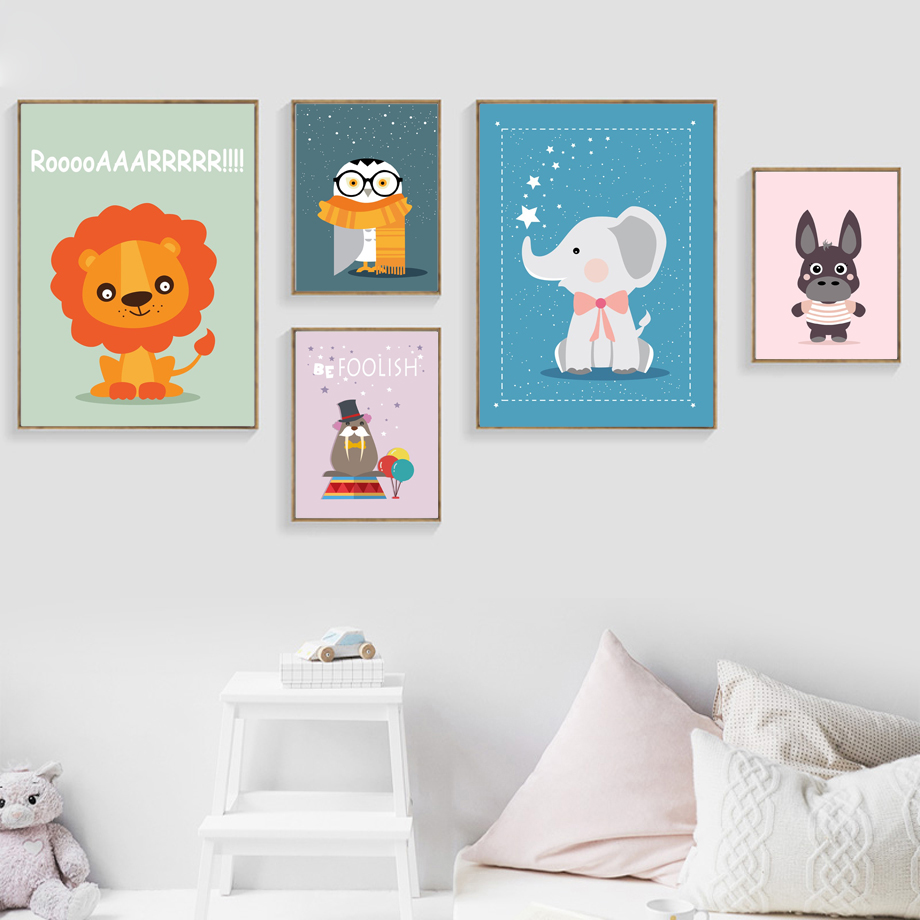 Animal Crocodile And Eliphamtcomic Porn elephant lion walrus owl wall art canvas painting nordic posters and prints  nursery print wall pictures baby girl boy room decor