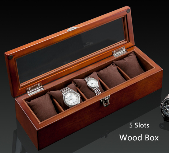 Top 5 Slots Wood Watch Box Fashion Black Watch Display Case New 2017 Watch Storage Case Jewelry Gift Boxes C019 ya top 5 slots wood watch box fashion retro european style watch storage cases wooden watch and jewelry boxes w023