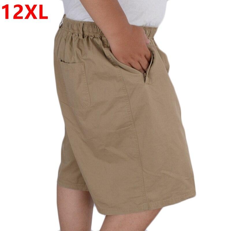 Cotton Shorts Pocket Oversize 10XL Big-Yards Knee-Length 12XL Men's Plus-Size Summer