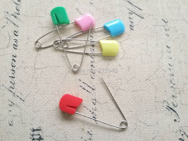 55MM 50Pcs/pack Mix Colorful Plastic & Metal Pin Brooch Clasps Hooks DIY Jewelry Findings & Components