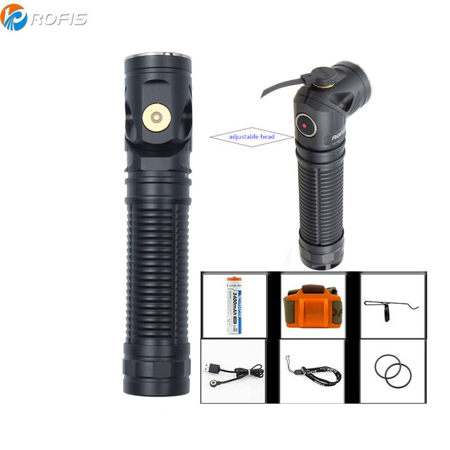 Rofis R3 фонарик CREE XM-L2 U3 светодиодный макс. 1250lm расстояние луча 194 м регулируемая головка Магнитный заряжаемый факел с батареей