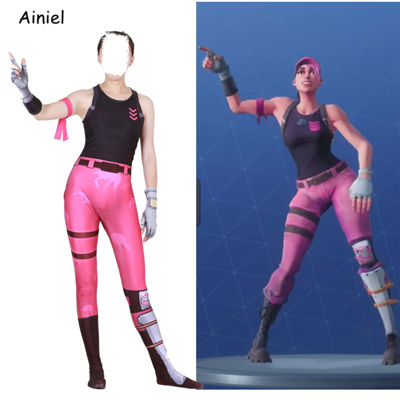 Fortnight Rose Team Leader Pink Bear Cosplay Costume Full Face Mask Zentai Bodysuit Halloween Party Costume for Adult Women Kids