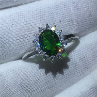 Diana 100 Real 925 Sterling Silver Ring 5A Green Zircon Stone Engagement Wedding Band Ring For