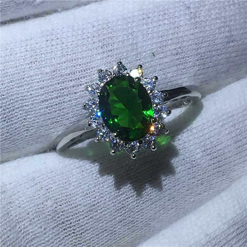 Anillo de compromiso Diana Plata de Ley 925 100% auténtica 5A piedra circón verde, anillo de compromiso para boda para mujeres y hombres, joyería de piedra natal