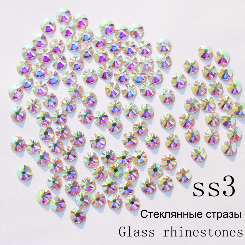 SS3 1440pcs/pack Crystal AB Non Hotfix Nail Art Rhinestones With Round Flatback For Nail Art Dancing Dress And Phone Case topperr 1302 sc1