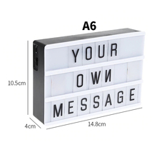 2019 DIY Cinematic Light Box Lightbox A4 A6 Letters Numbers Acrylic LED Lamp AA Figurines Home Bar Hotel Coffee Desk Night