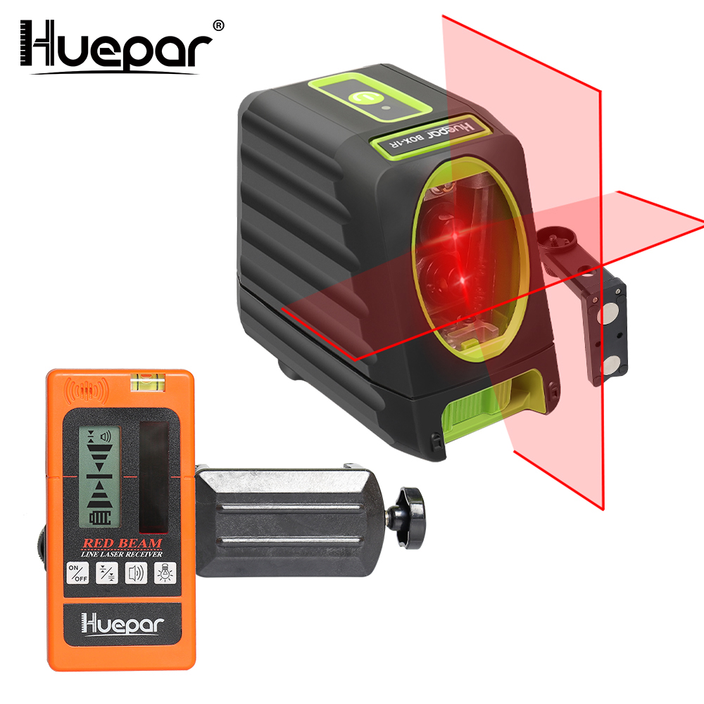 Huepar Red Beam Cross Line Laser Level 150/130 Degree Self-leveling+Red Beam Digital Laser Receiver Used with Pulsing Line Laser bbloop confirm outline self inking stamp rectangular laser engraved red