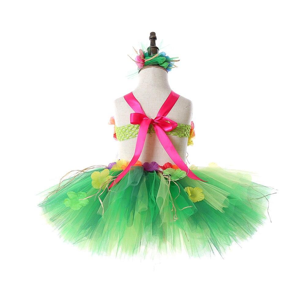 Hawaii Green Flower Fringes Tulle Skirt Girls Solid Mini Skirt for Girls Princess Tassel Party Skirt Baby Photography Costumes (5)