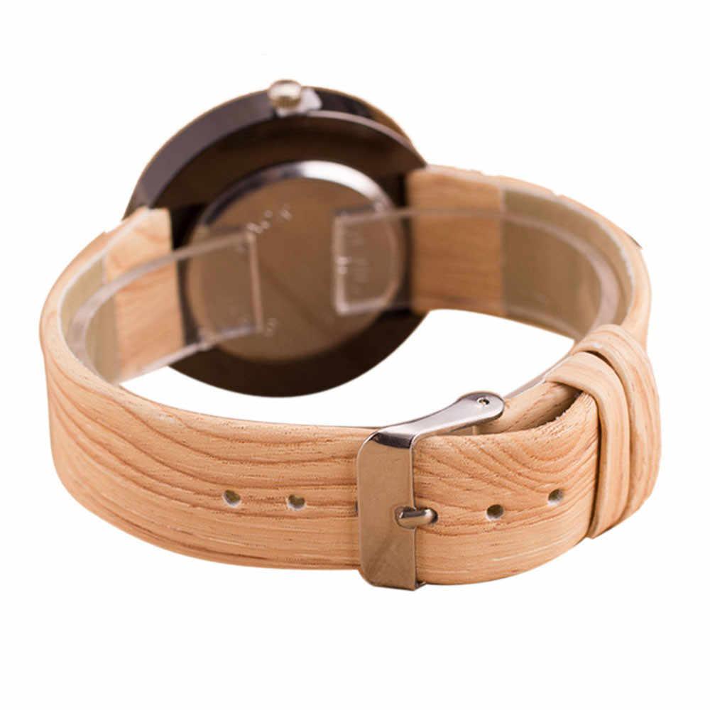 Reloj de cuarzo de cuero de grano de madera de estilo relojes de pulsera para hombre