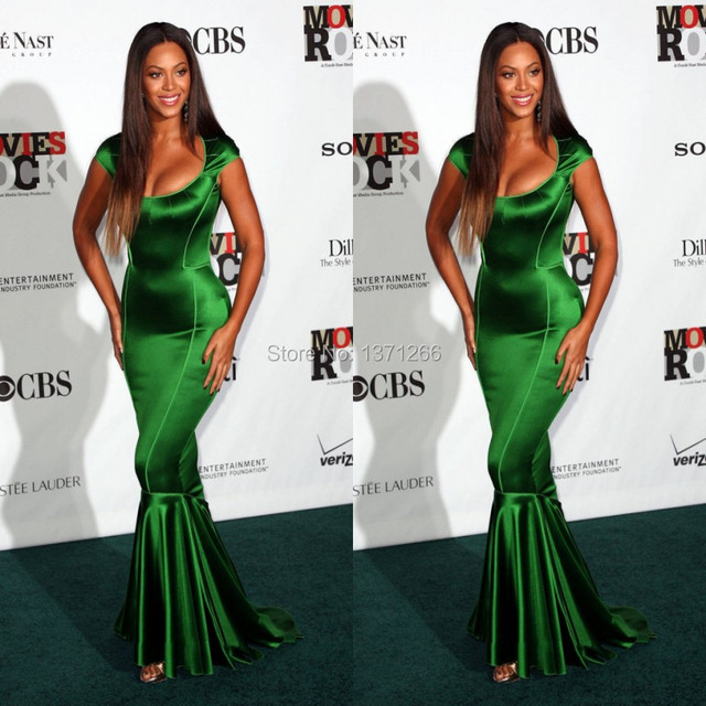 Beyonce Red Carpet Celebrity Dresses 2017 Sexy Cap Sleeve Mermaid Green Prom Party Evening Gown Vestido de festa