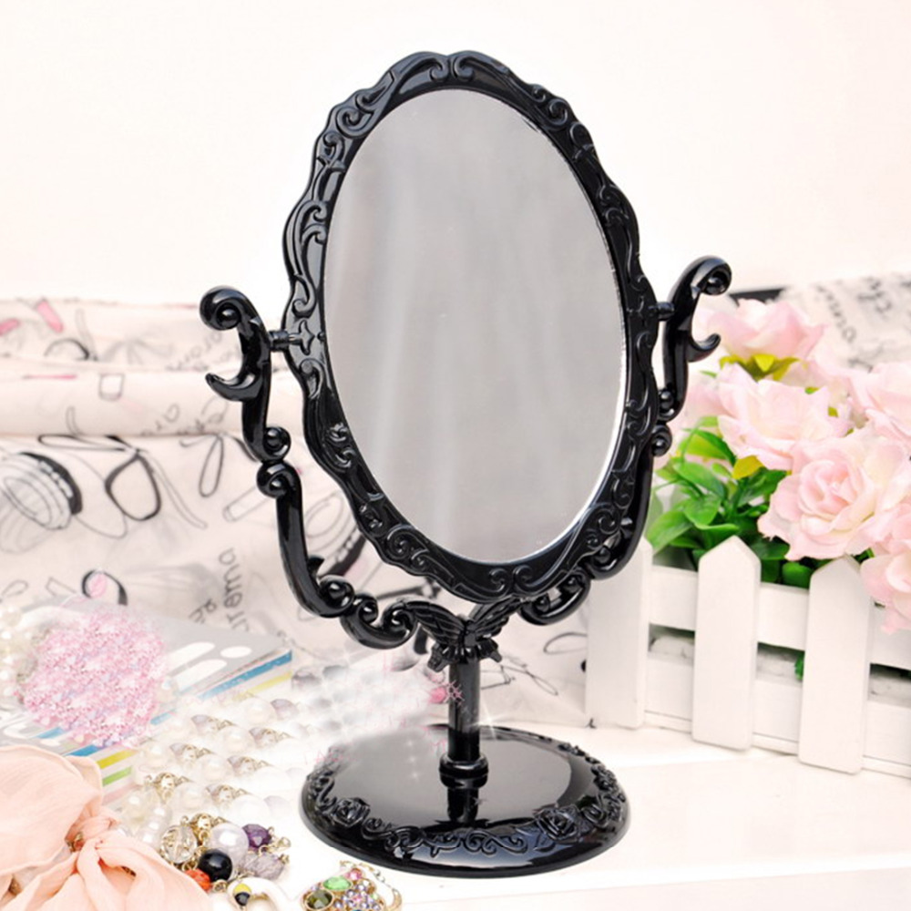 Black Vintage Royal Makeup Mirror Desktop Rotatable Gothic Mirror with Butterfly Rose and Vines Decoration Cosmetic Tool
