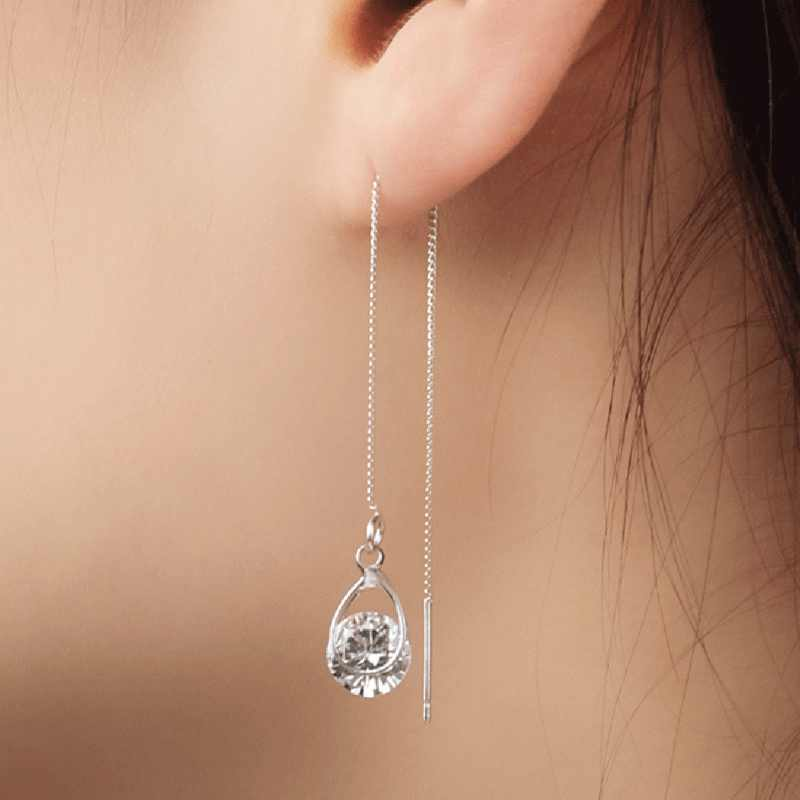 Fashion Crystal Water Drop Earrings for Women Female Long Tassel Sparkling Dangle Earring Bar Personality Statement Jewelry 2018