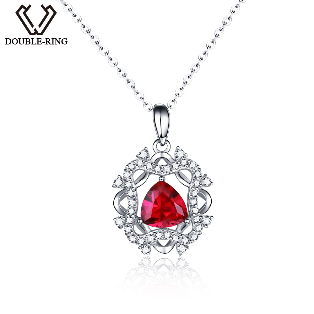 DOUBLE-R Genuine Solid 925 Sterling Silver Pendants Classic Created Red Ruby Fine Engagement Wedding Jewelry For women