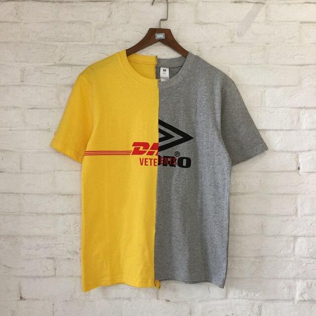 f70fe9a60fc2 2018 Vetements Style DHL Patch Work Women Men T Shirts tee Hiphop High  Street Men Cotton