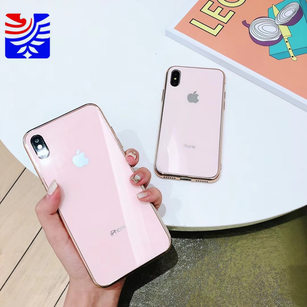 PEIPENG Luxury made of electroplated glass Anti-fall Phone Cases For iphone 6 6S 7 8 Plus X Xs Max Christmas gift Girl Simple and stylish17