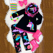 Emmababy Unicorn Baby Girls Clothes Set 2-7Y Kids B
