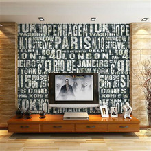 beibehang Black and white English letter wallpaper Mens clothing store wallpaper Bar KTV coffee shop restaurant sofa wallpaper(China)