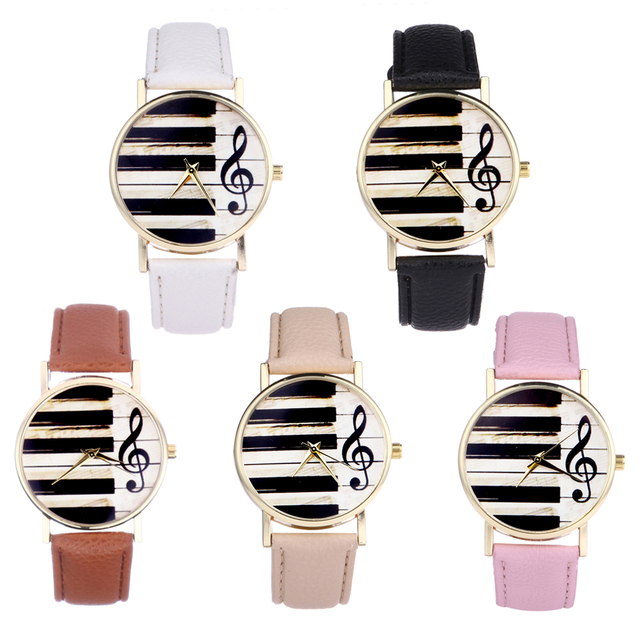 Fashion Women Watches Piano Keyboard Watch Musical Note Watch Lady Quartz Leather Strap Belt Bracelet Clock relogio feminino