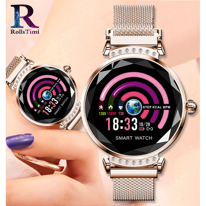 RollsTimi De Luxe Femmes montres intelligentes de Étanche traqueur de remise en forme Intelligente Sport montres-bracelets Coeur Taux Sang Pression Bracelet