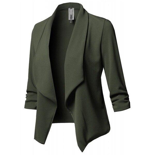 10 Colors S-5XL Jackat Coat Blazer Women Candy Slim OL Fold Short Fit Fashion  vintage White Black Pink Blazers Suit Woman Tops 3