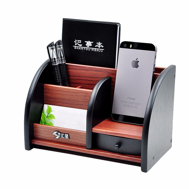 Wooden High Grade Multifunctional Desk Stationery Organizer Storage Box Pen  Pencil Box Jewelry Makeup Holder