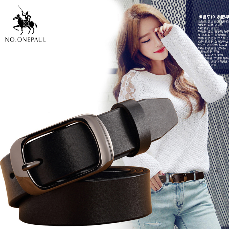 NO.ONEPAUL Fashion Retro women   belt     Belts   for women female Lady Metal Leather Double Buckle Waist   Belt   Waistband high quality