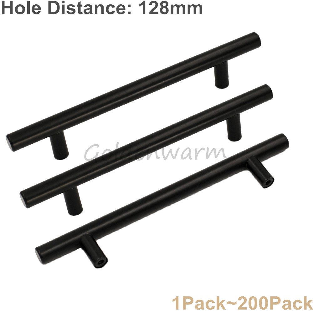5 Furniture Cabinet Handles Stainless Steel Black T Bar Diameter 12mm Kitchen Modern Cup ...