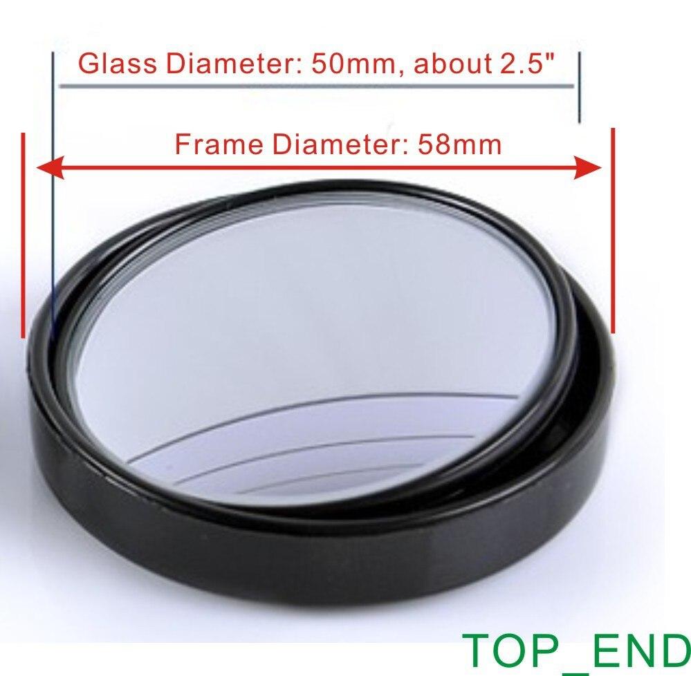 "Hot & Japan Standard Quality,Free Shipping 2.5"" Large Size Convex& 20 Degree Adjust Car Blind Spot Mirror,Black Frame w/ 3M Tape"