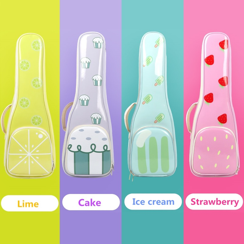 Waterproof Ukulele Bag Case Electric 23 24 Inches Concert Backpack Carry Gig Portable Imitation Leather Strawberry Lime Ice Cake