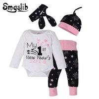 Smgslib Newborn Baby Girl Clothes Floral Printing Long Sleeve Bodysuit Tops Pants Leggings Hats Set Baby