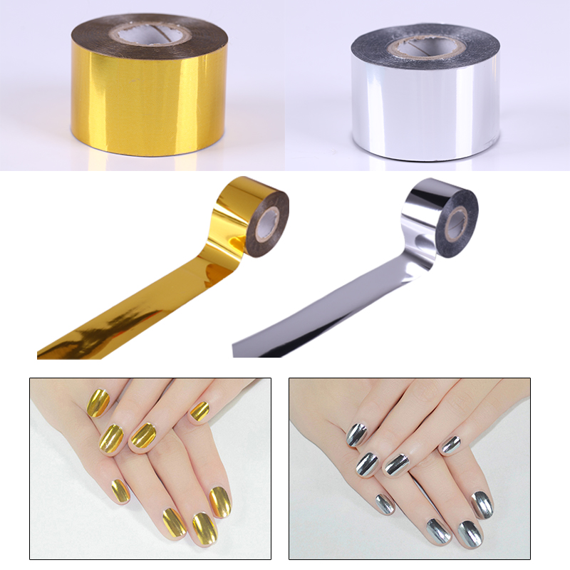 1 Roll Holo Starry Sky Nail Foil Tape 4cm*120m Nail Art Transfer Sticker Gold/Silver ...
