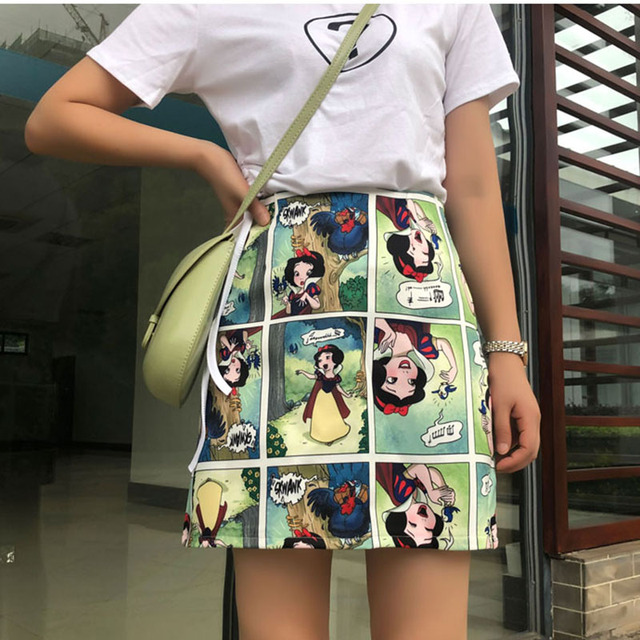Snow White Cartoon Print Mini Skirts Summer High Waist Pencil Skirt Beach Warp Skirts Design A-Line Korean Vintage Slim Fit Sexy 1
