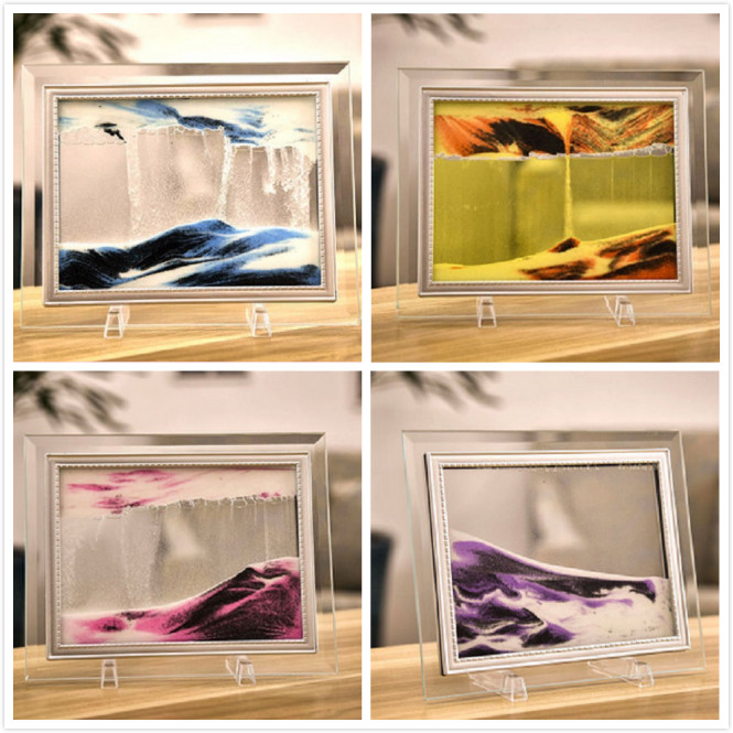 Moving Liquid Sand Glass Photo Picture Frame Home Desk