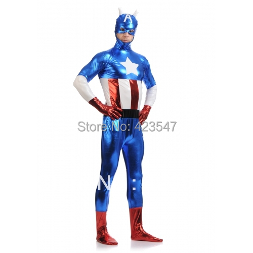 Kék és piros & fehér fém Az Avengers jelmezek Amerika kapitány - Jelmezek - Fénykép 2
