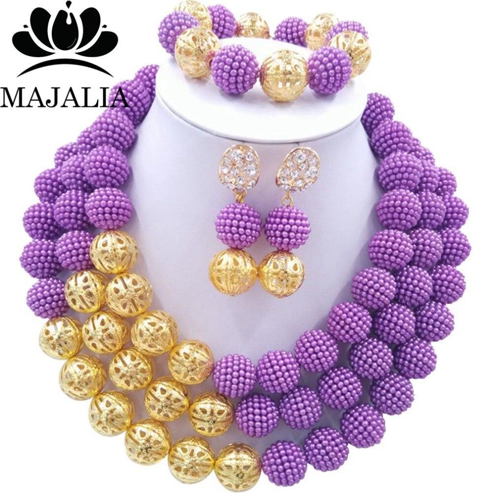 Fashion Nigeria Wedding african beads jewelry set purple Plastic ...
