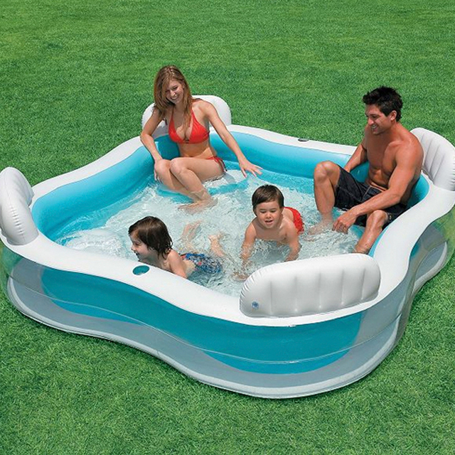 Inflatable Swimming Pool backrest with seat family swimming pool inflatable pool square Summer baby swimming pool 56475 2