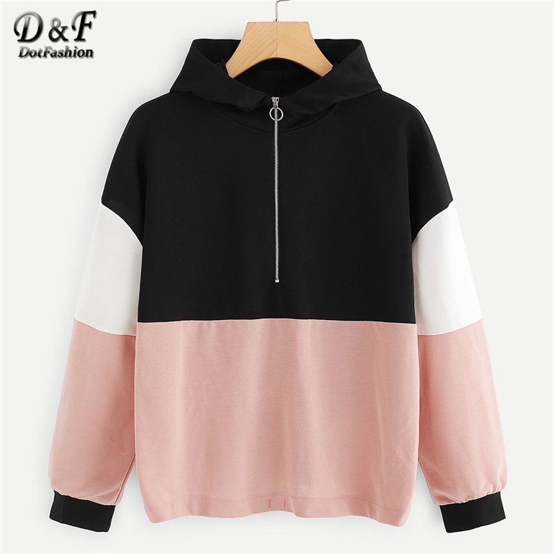 df6f1d8f9bd Dotfashion Zipper Cut And Sew Color Block Hoodie Women Casual Autumn Hooded Long  Sleeve Female Multicolor Pullovers Sweatshirt