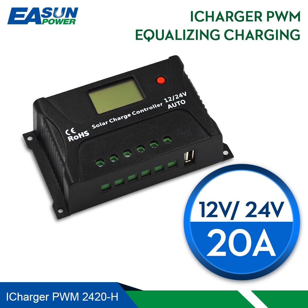 EASUN POWER Solar Charge Controller 12V 24V Voltage Regulator 20A PWM Solar Charge Controller USB 5V Solar Regulator diy 5v 2a voltage regulator junction box solar panel charger special kit