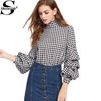 Sheinside Black Gingham Cutout High Neck Billow Sleeve Top 2016 New Style Female 3 4 Sleeve
