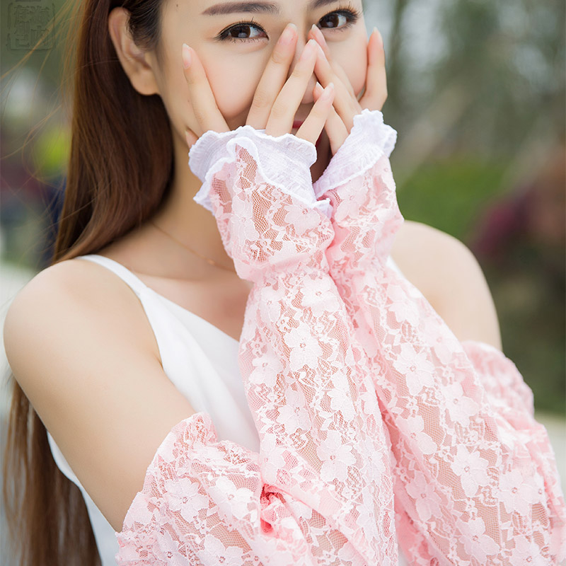 Summer Fashion Women's Lace Sun-proof Oversleeve Organza  For Ride Drive Long Gloves Sun Block Registered Mail Free Shipping