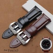 Goosuu buena calidad 26mm para garmin fenix 3 100% correa de piel genuina correa de cuero para fenix 3 venda de reloj 26mm